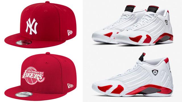 "6e92bac35cf New Era MLB and NBA Red   White Snapback Caps to Match the Air Jordan 14  ""Candy Cane"""