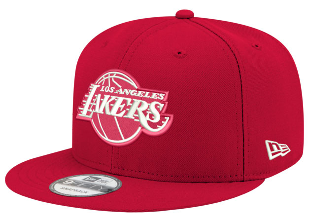 jordan-14-candy-cane-snapback-hat-lakers