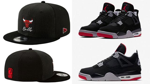"e4459f64859 Air Jordan 4 ""Bred"" 2019 x Chicago Bulls New Era Retro 4 Bred Hook Snapback  Cap"