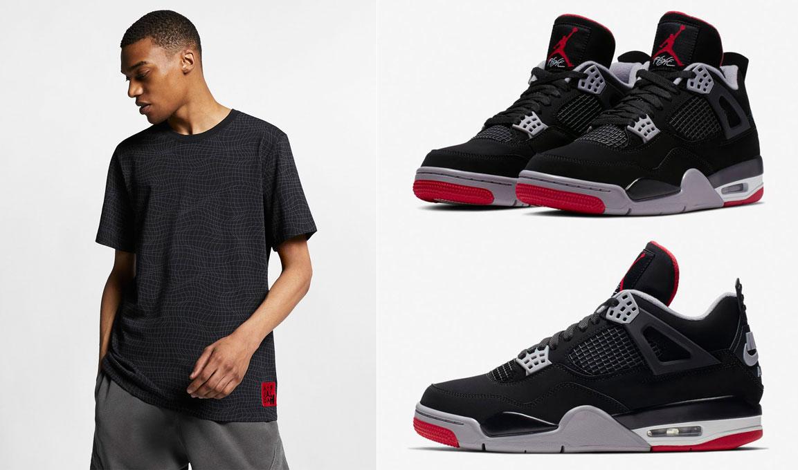 Air Jordan 4 Bred Matching Shirt