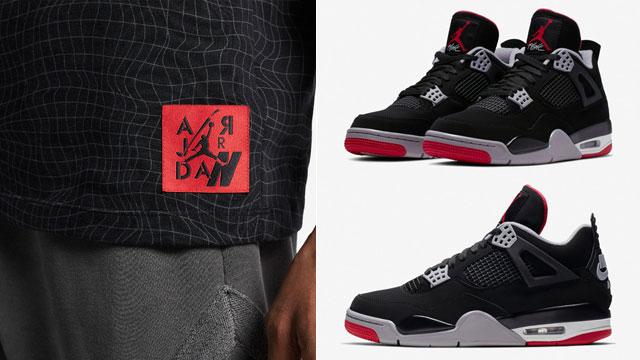 "8e6ff88ba04e13 Air Jordan 4 ""Bred"" 2019 x Jordan Legacy AJ 4 Grid Pattern Allover Print T- Shirt"