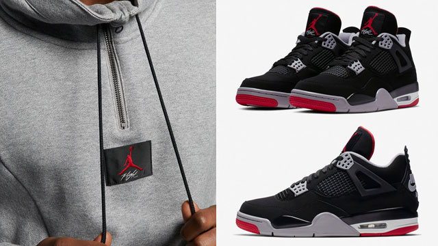 "2b8d40906bab64 Air Jordan 4 ""Bred"" x Jordan Flight Loop 1 4-Zip Top"