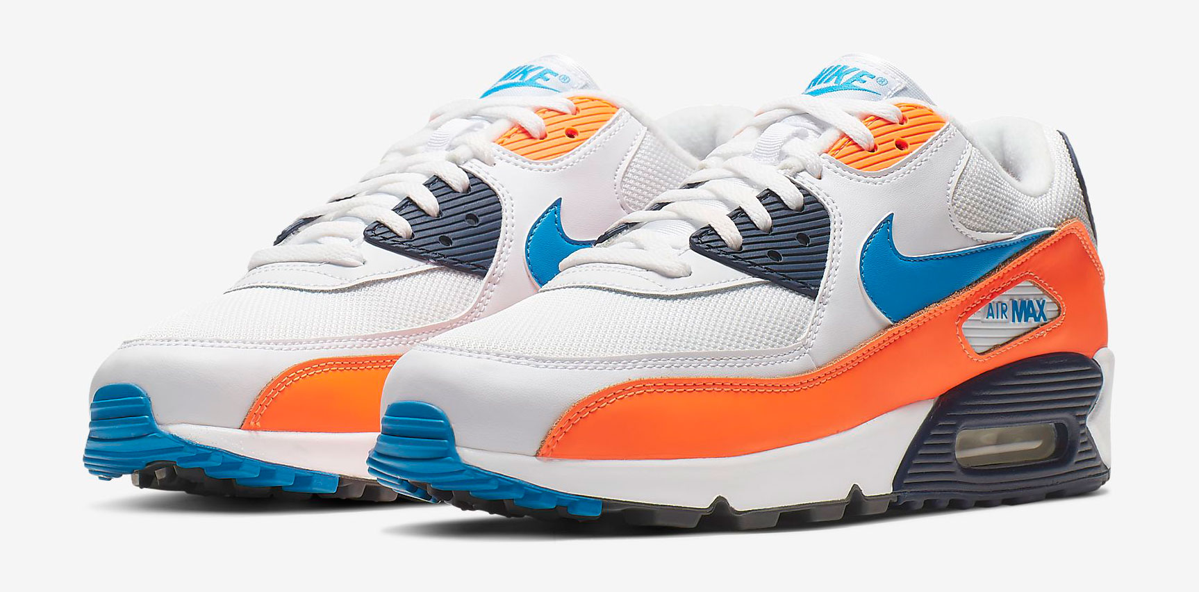 "detailed look f12ca 20f72 Nike Air Max 90 ""Total Orange Photo Blue"""