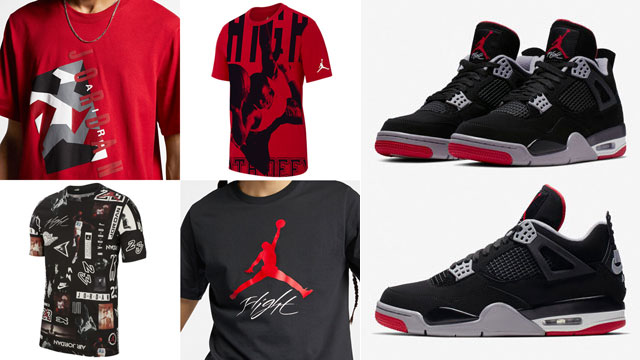 "6a2324f4496e Following up on the 2019 return of the OG Air Jordan 4 ""Bred"" sneakers  comes a look at 15 of the best Jordan Brand T-Shirts to hook with the  classic kicks."