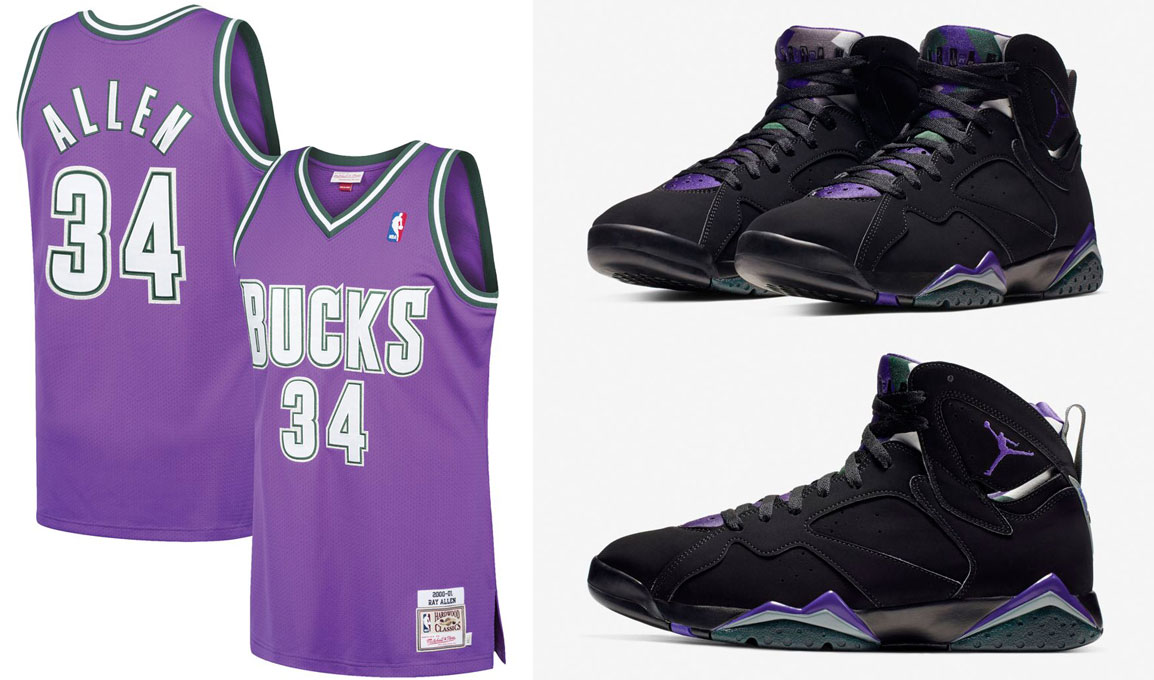 more photos 068fb dd3df Air Jordan 7 Ray Allen Bucks Retro Jersey | SneakerFits.com