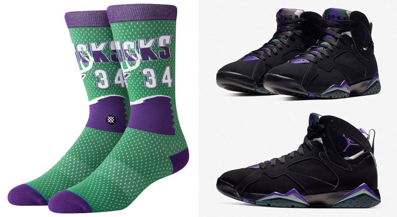 online store d28b6 633ed Air Jordan 7 Ray Allen Bucks Socks | SneakerFits.com