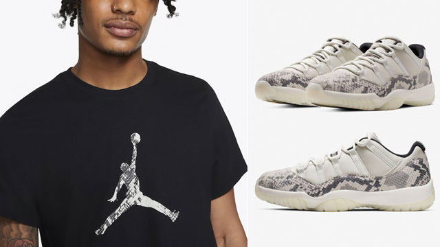 "1f12c2f2c86ef4 Air Jordan 11 Low Snakeskin ""Light Bone"" x Jordan 11 Snakeskin Jumpman  T-Shirt"