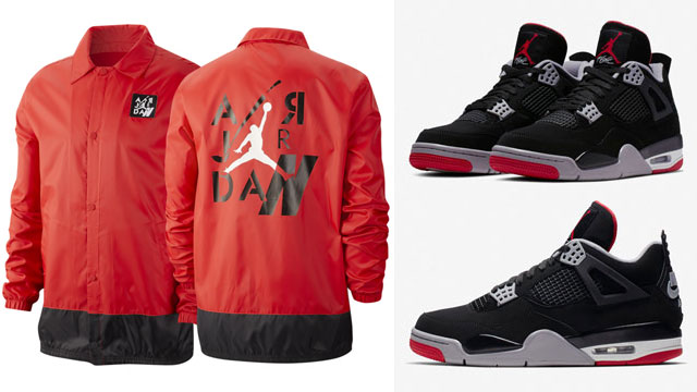 "9b7e6a1d7965 Jordan Legacy AJ 4 Coaches Jacket Now Available in ""University Red Black""  to Match the Air Jordan 4 ""Bred"""