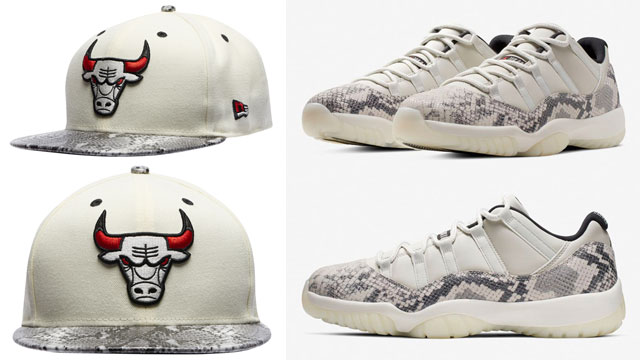 "1f147f02fa2f Air Jordan 11 Low Snakeskin ""Light Bone"" x Chicago Bulls New Era Retro 11  Snakeskin Snapback Cap"