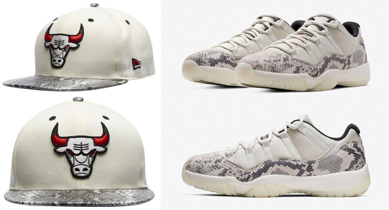 jordan-11-grey-snakeskin-light-bone-bulls-hat