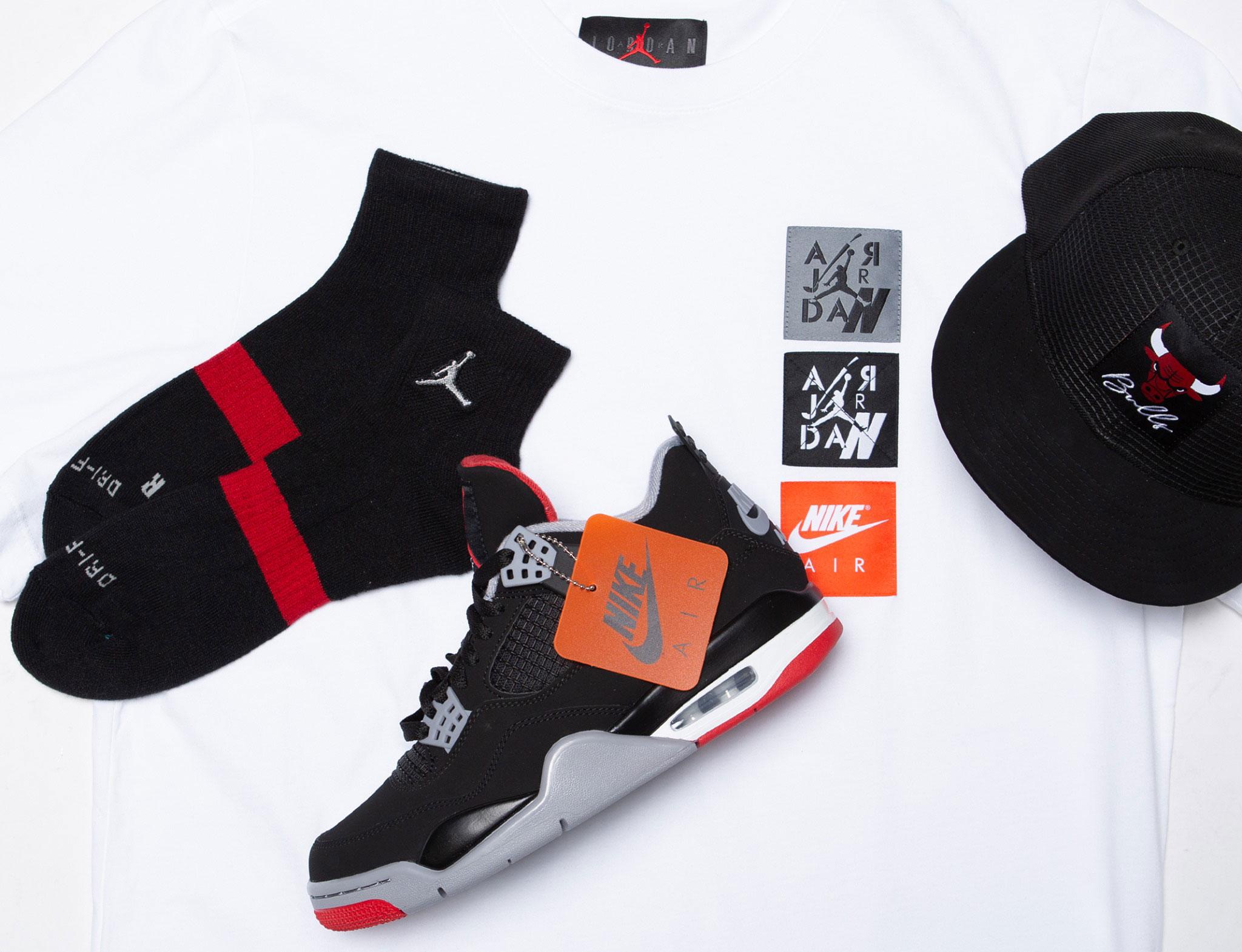 jordan-4-bred-hat-shirt-socks-outfit-match