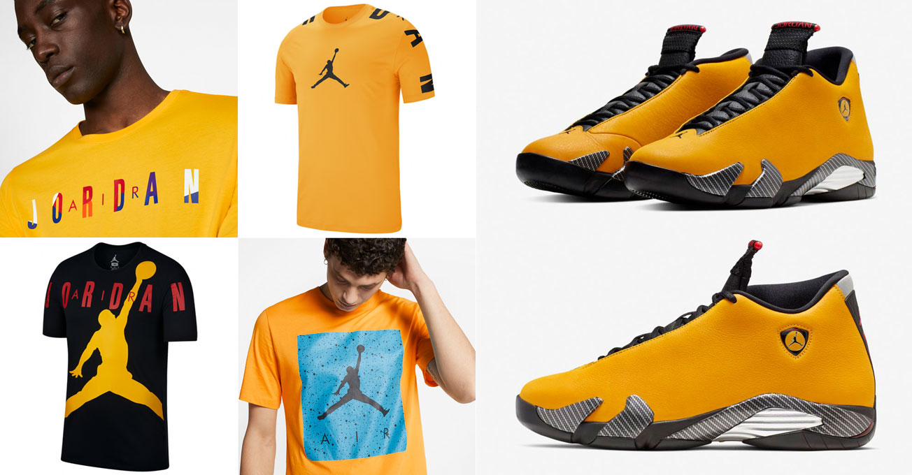 air-jordan-14-ferrari-yellow-sneaker-tees-shirts