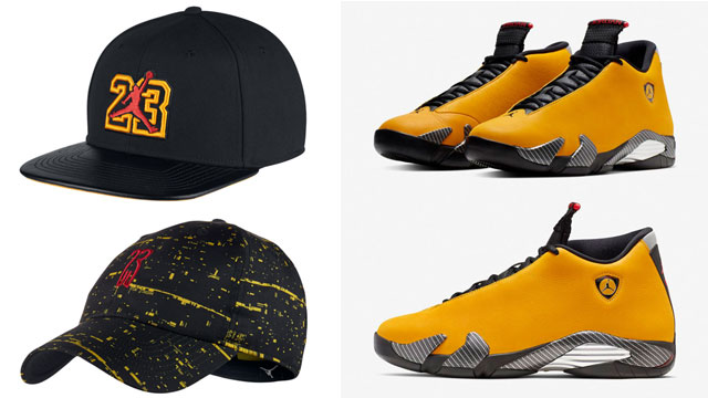 air-jordan-14-yellow-ferrari-caps