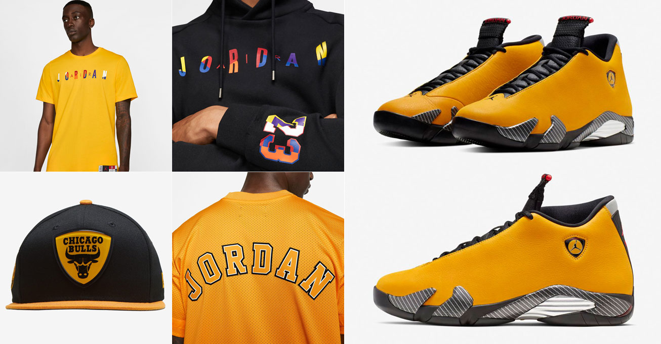 air-jordan-14-yellow-ferrari-clothing-outfits-hats-match