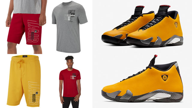 "65fc7d299c2 Air Jordan 14 ""Yellow Ferrari"" x Jordan Jumpman Moto Clothing Collection"