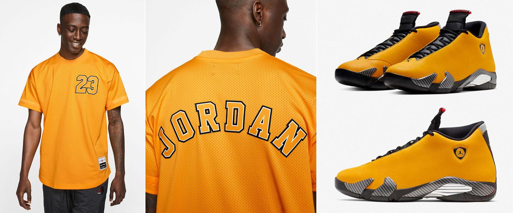 detailed look a42d3 887be Jordan 14 Yellow Reverse Ferrari Jersey | SneakerFits.com