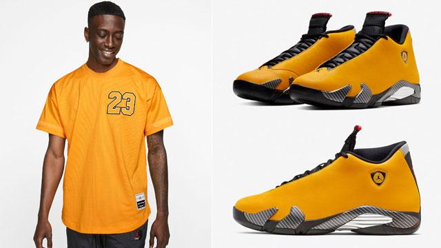 outlet for sale factory outlets buy best Jordan 14 Yellow Reverse Ferrari Jersey   SneakerFits.com