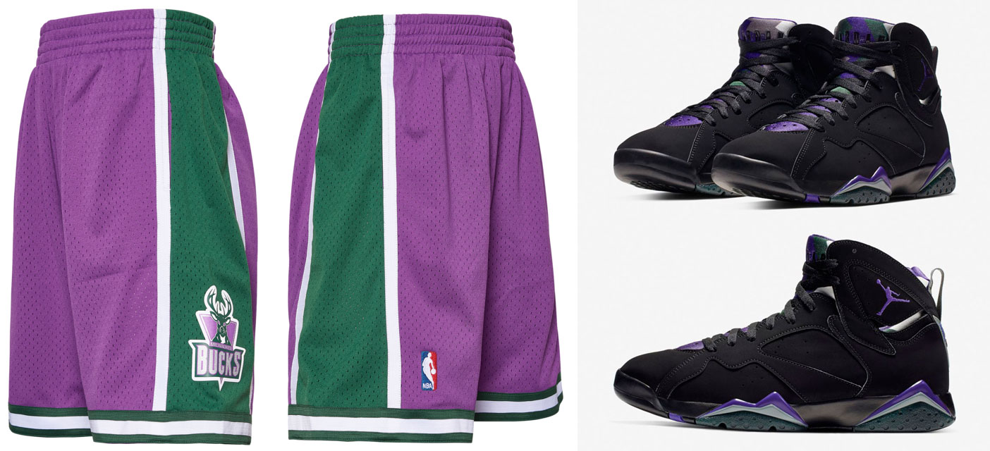 "bb150e4119a Air Jordan 7 ""Ray Allen"" x Milwaukee Bucks Mitchell & Ness NBA Retro Shorts"