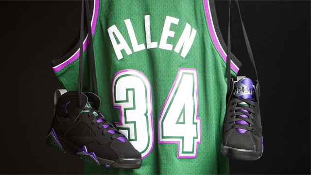 Jordan 7 Ray Allen Bucks Jersey Shorts Socks | SneakerFits.com