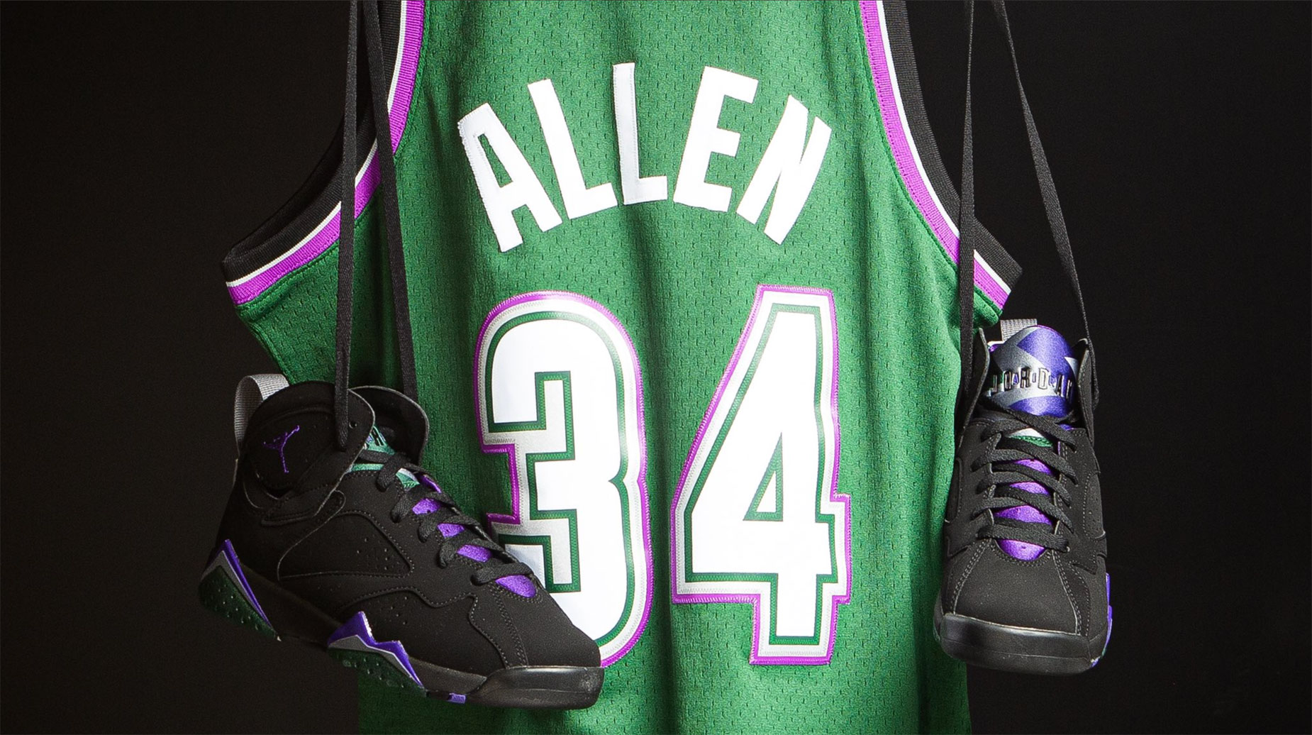 new arrival b3990 76c2a Jordan 7 Ray Allen Bucks Jersey Shorts Socks | SneakerFits.com