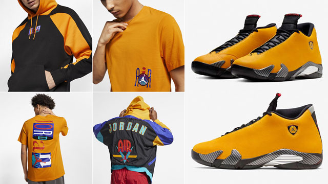 86a81a4c177 Yellow Ferrari Jordan 14 Clothing Match | SneakerFits.com