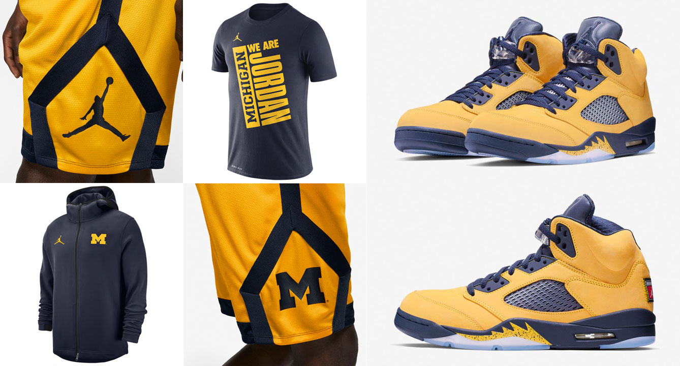 Michigan Jordan Gear >> Jordan 5 Michigan Amarillo Navy Clothing Sneakerfits Com