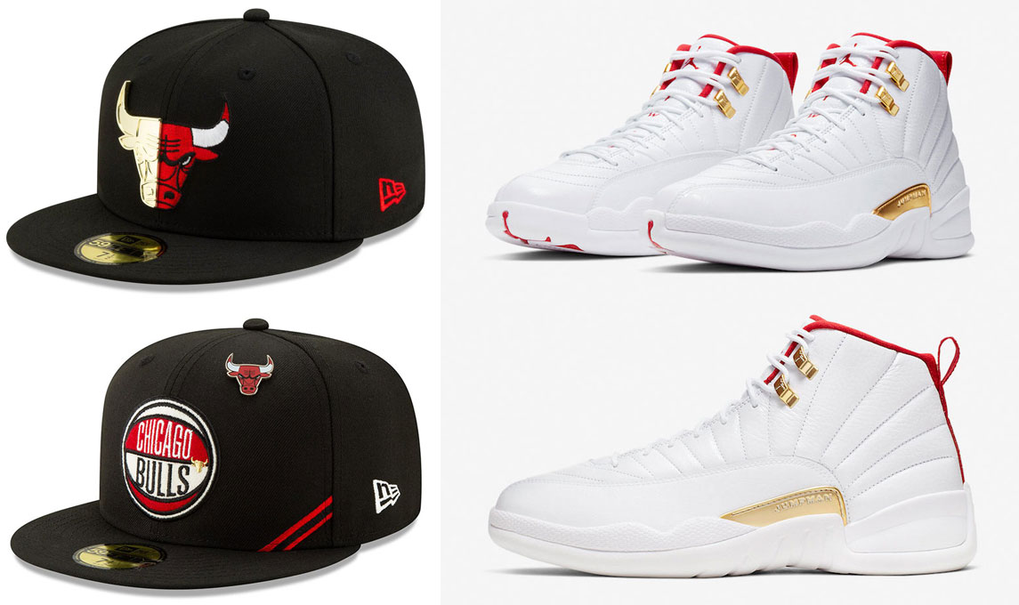 air-jordan-12-fiba-new-era-bulls-hats-to-match
