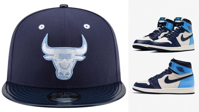 Air Jordan 1 High Obsidian Unc Bulls Snapback Hat Match