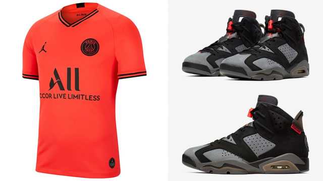 Air Jordan 6 Psg Paris Saint Germain Infrared Soccer Jersey Sneakerfits Com