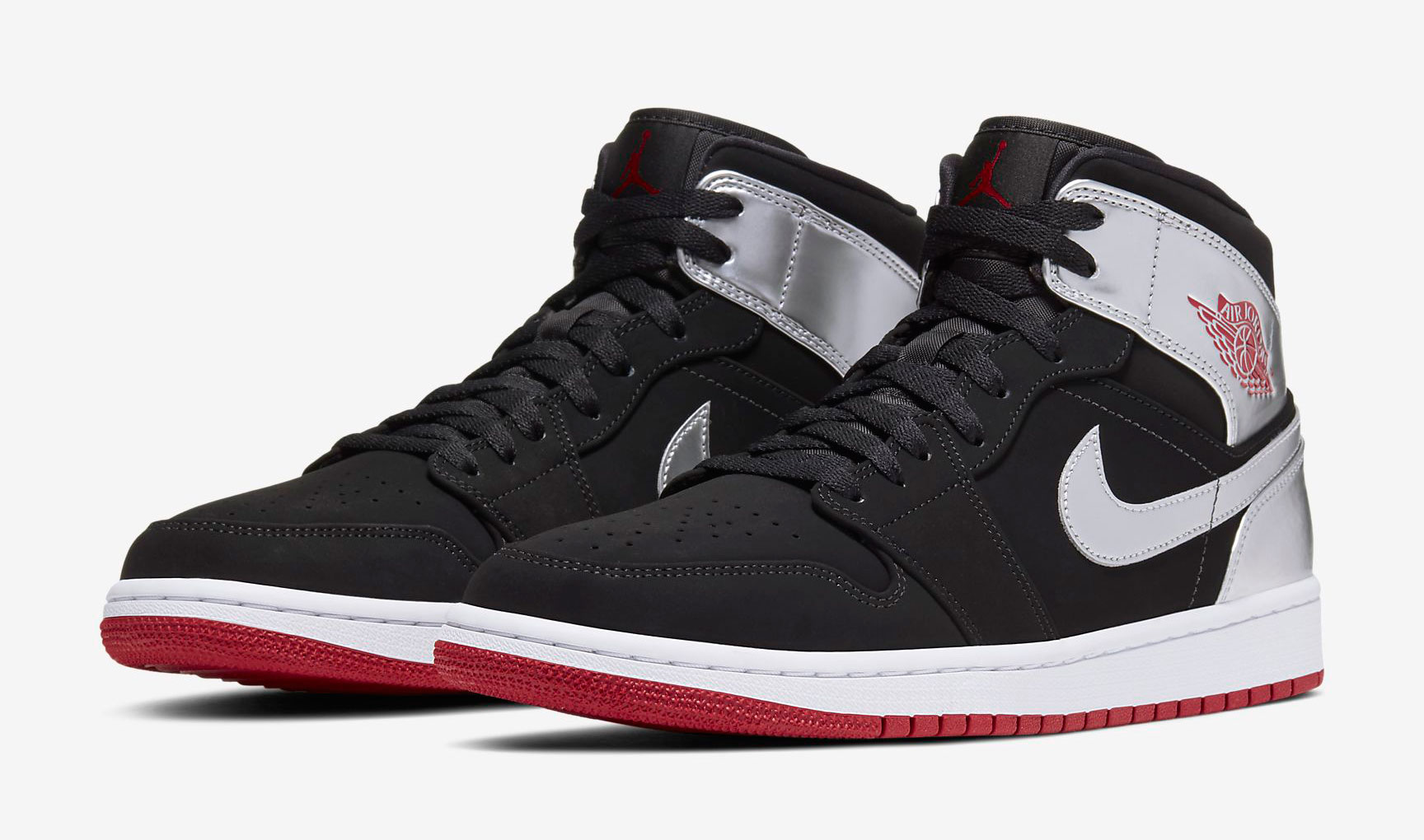 Air Jordan 1 Mid Black Silver Gym Red Available Now ...Jordan 9 Black And Red And Silver