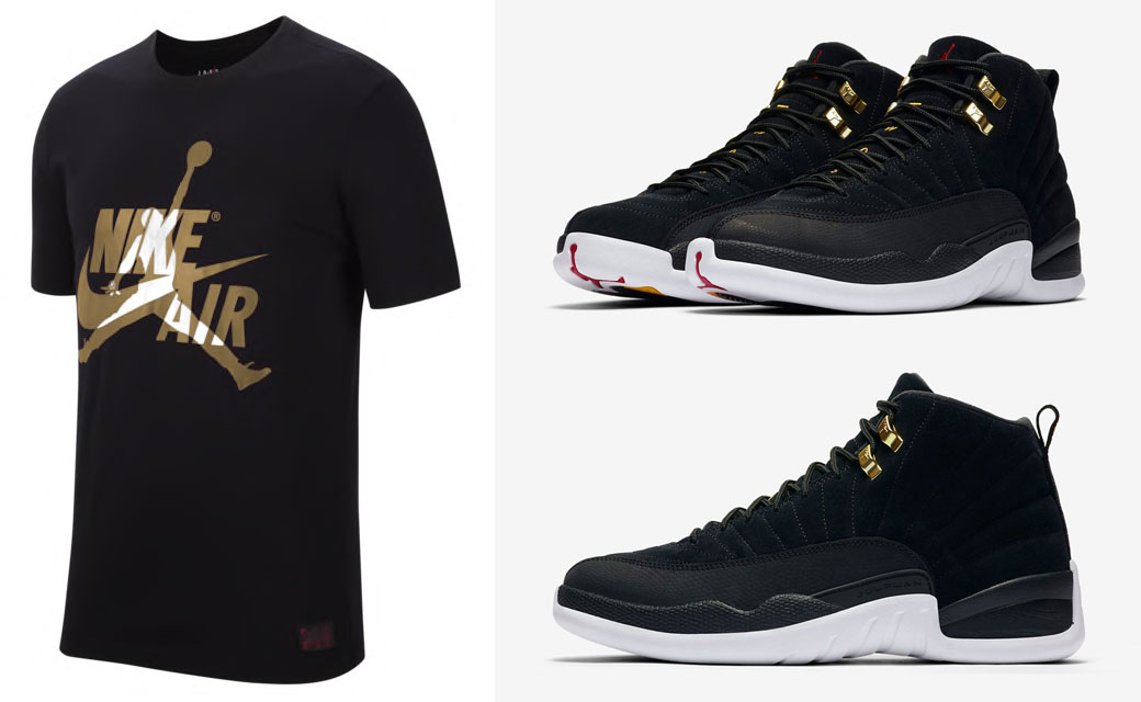 black and gold jordan t shirt