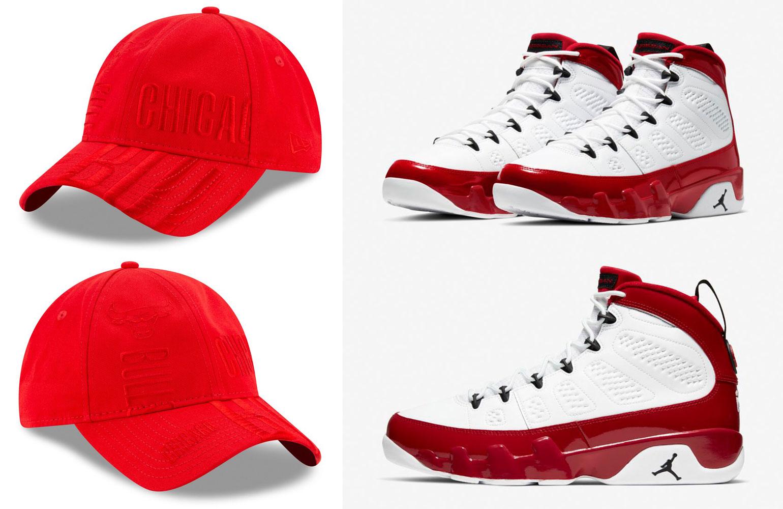 air-jordan-9-gym-red-new-era-bulls-dad-hat