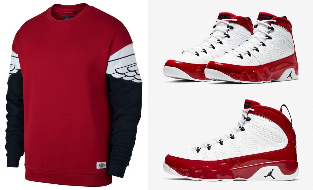 air-jordan-9-white-gym-red-sweatshirt-match