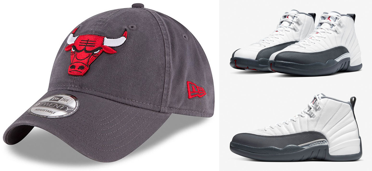 air-jordan-12-white-dark-grey-bulls-dad-hat