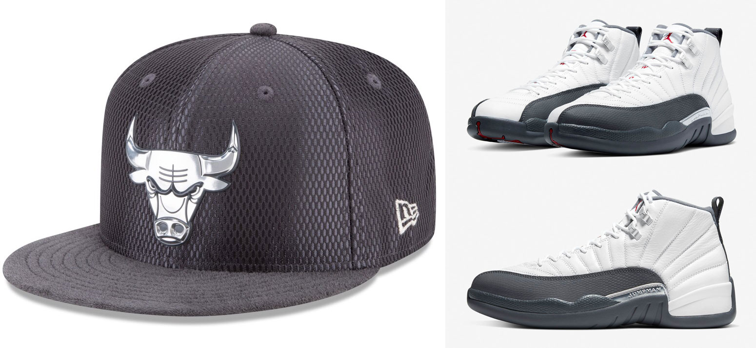 air-jordan-12-white-dark-grey-bulls-fitted-hat