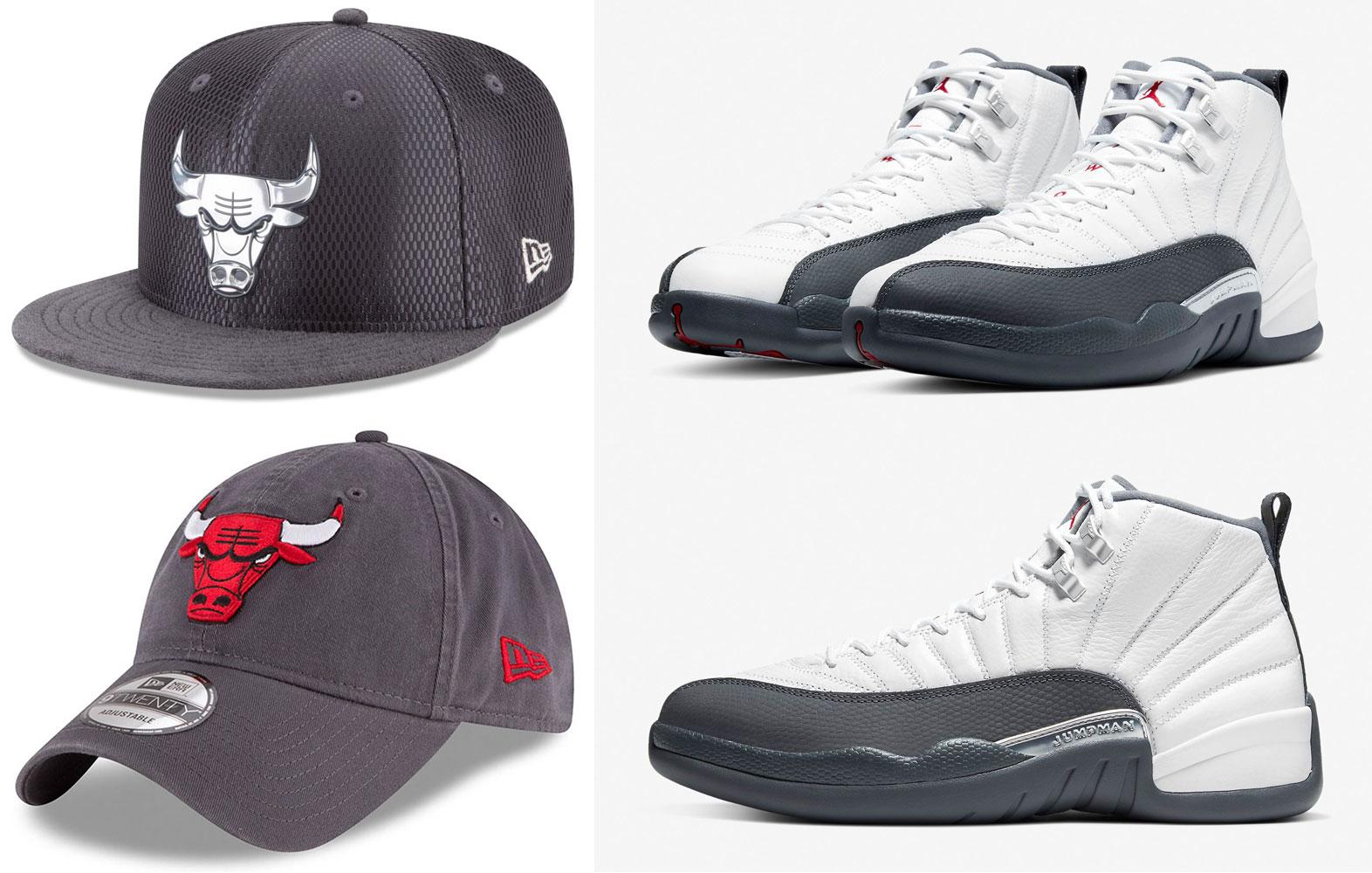 air-jordan-12-white-dark-grey-bulls-hats