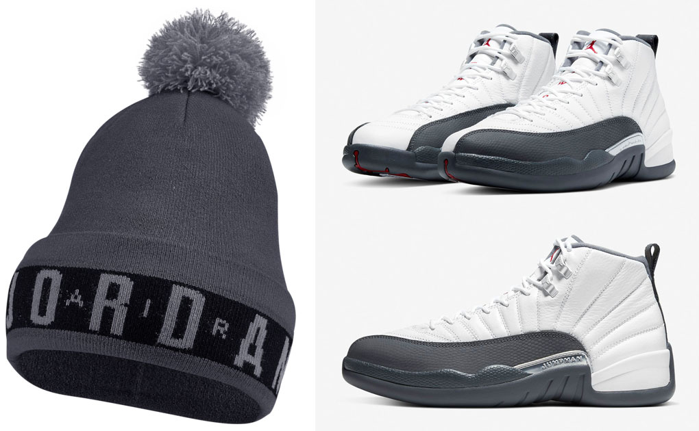 air-jordan-12-white-dark-grey-knit-hat-beanie-match