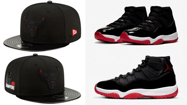 Air Jordan 11 Bred 2019 Bulls Snapback Hat Sneakerfits Com