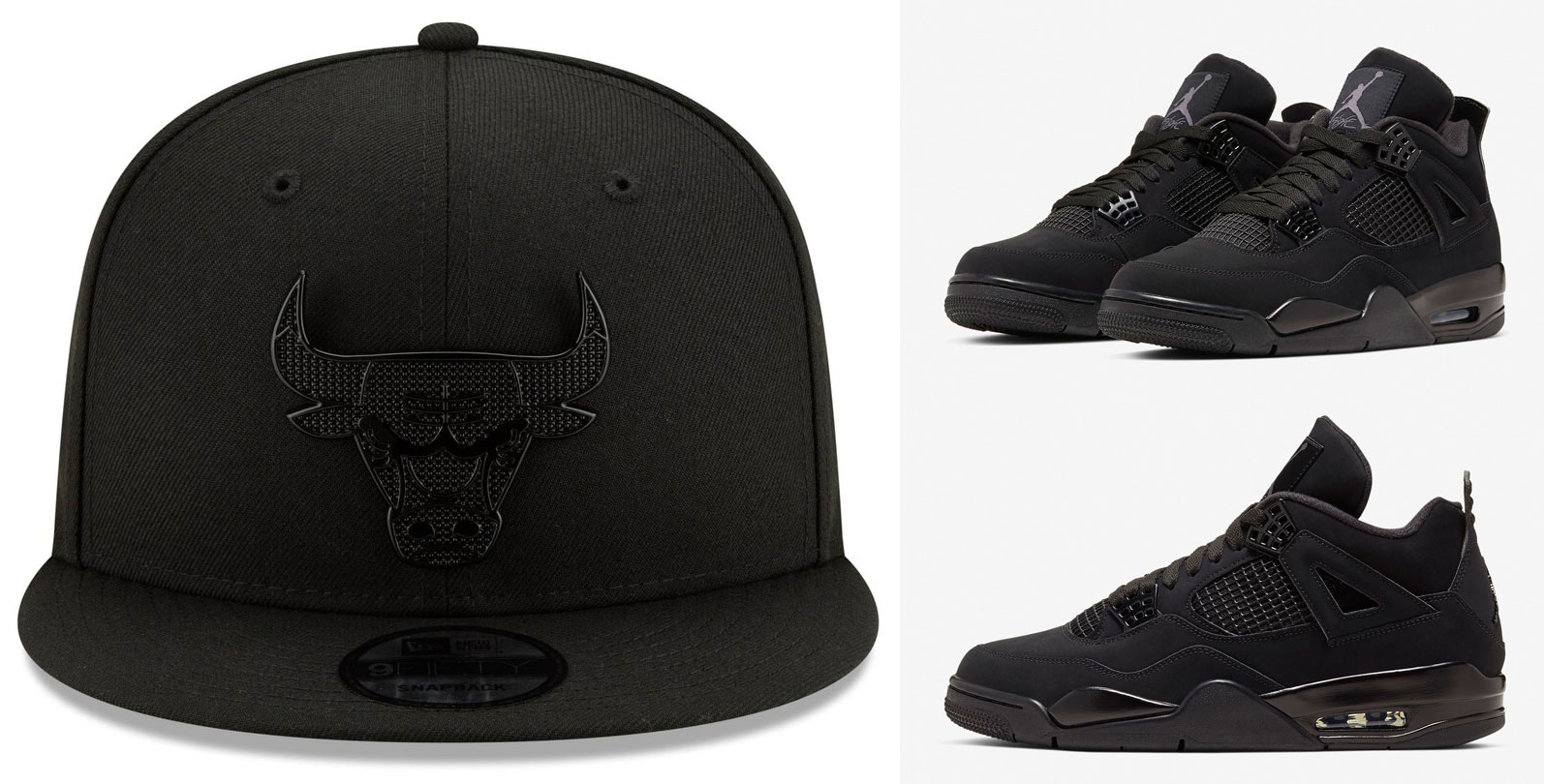 air-jordan-4-black-cat-2020-matching-bulls-hats