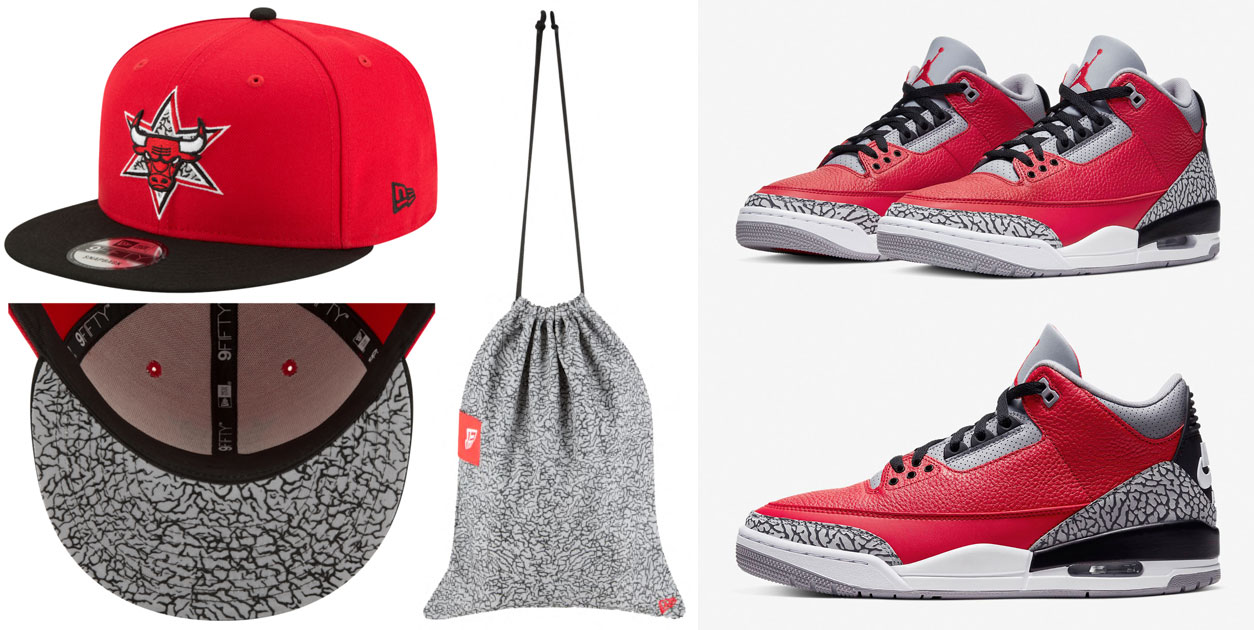 red-cement-jordan-3-new-era-bulls-hat-bag-match