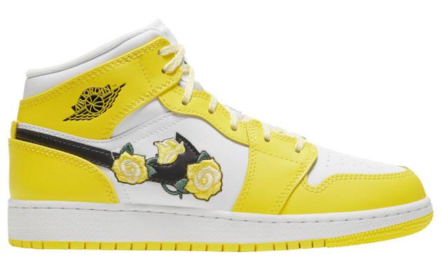 air-jordan-1-mid-yellow-floral-flower-grade-school