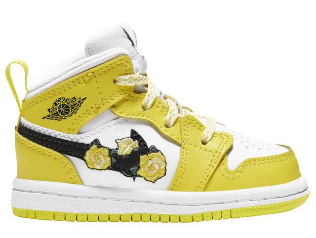air-jordan-1-mid-yellow-floral-flower-toddler