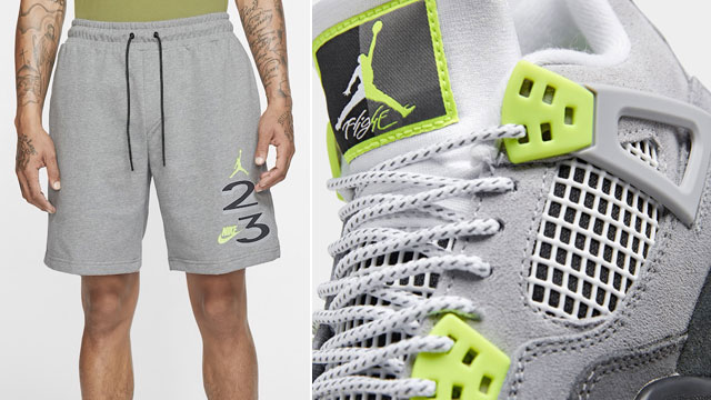 air-jordan-4-neon-grey-volt-shorts