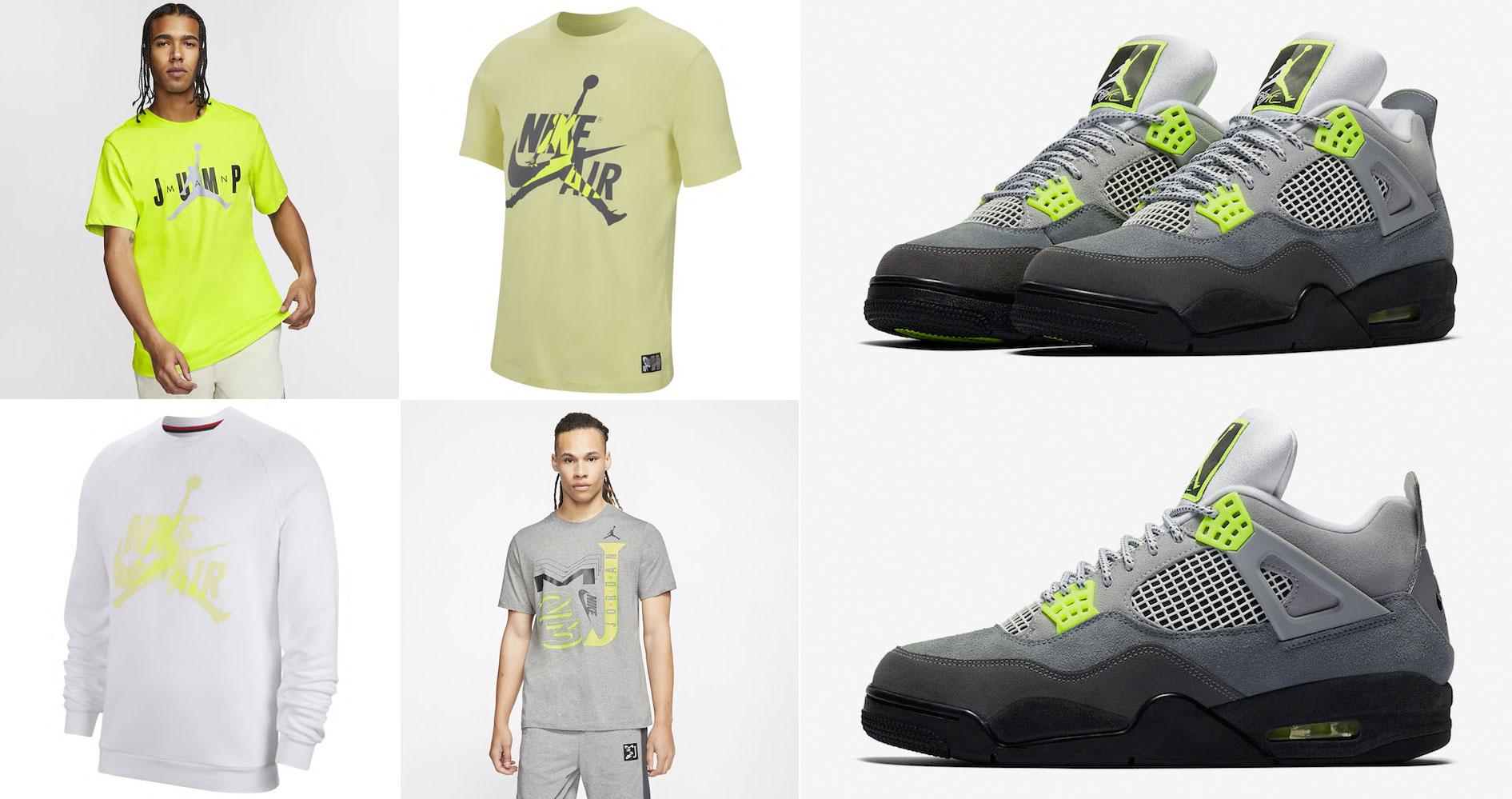 air-jordan-4-neon-volt-grey-shirts