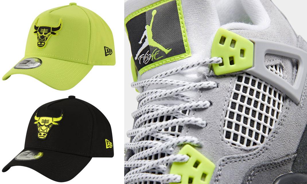 air-jordan-4-neon-volt-new-era-snapback-hats