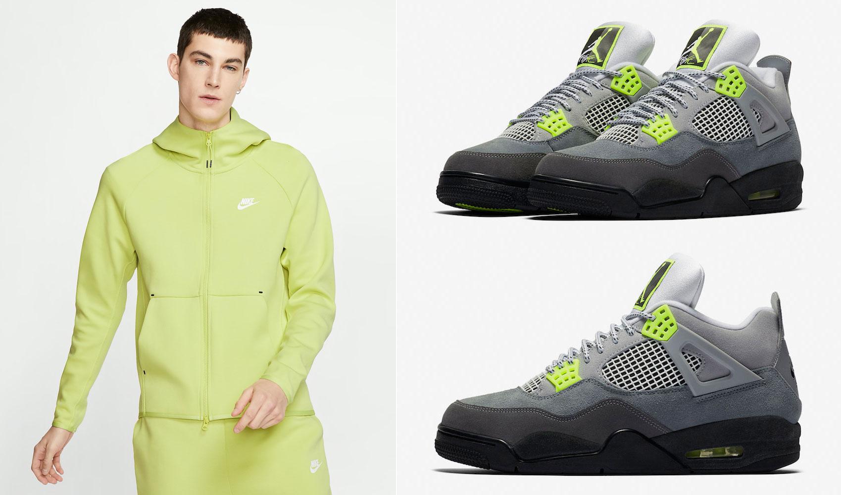 air-jordan-4-neon-volt-nike-hoodie-match
