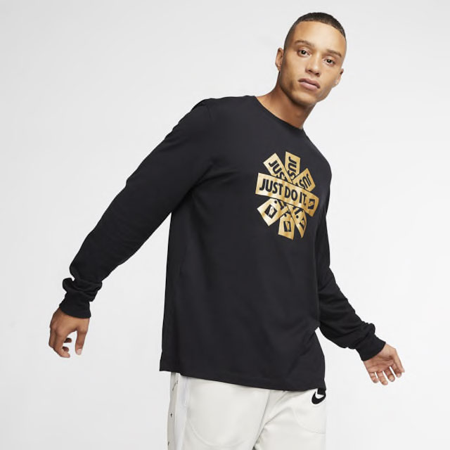 nike-long-sleeve-shirt-black-metallic-gold