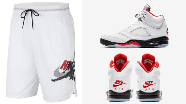 air-jordan-5-white-fire-red-poolside-shorts