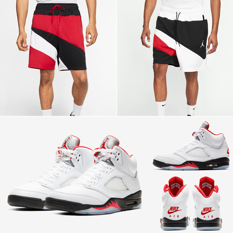 air-jordan-5-white-fire-red-shorts