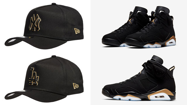 air-jordan-6-dmp-black-gold-mlb-new-era-caps